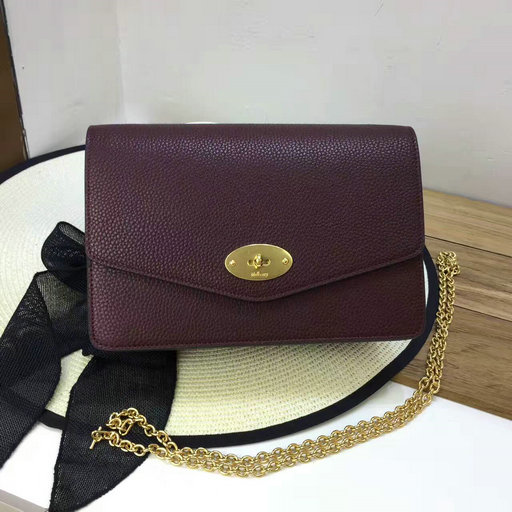 2017 Latest Mulberry Small Darley Clutch Oxblood Grain Leather