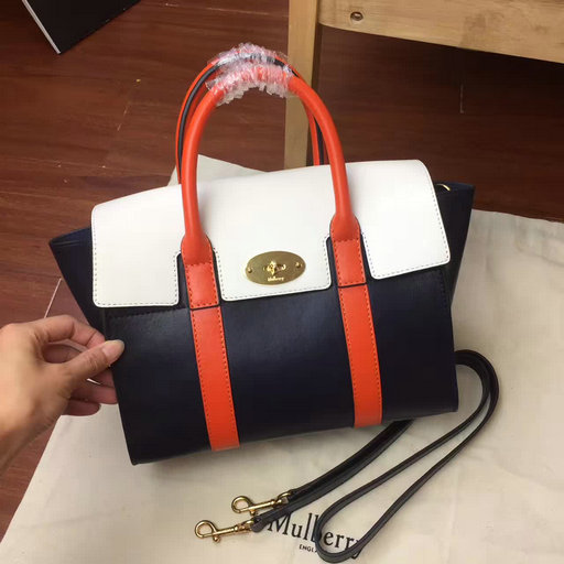 2017 Summer Mulberry Small New Bayswater Midnight, Chalk & Orange Smooth Calf