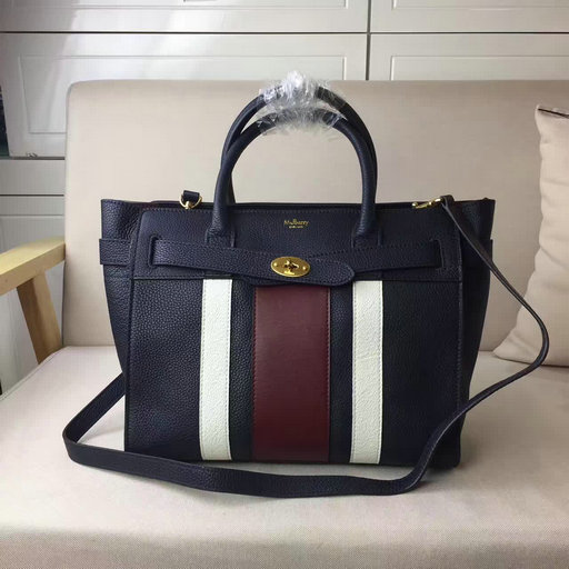 2017 Summer Mulberry Small Zipped Bayswater Midnight,White & Burgundy Small Classic Grain