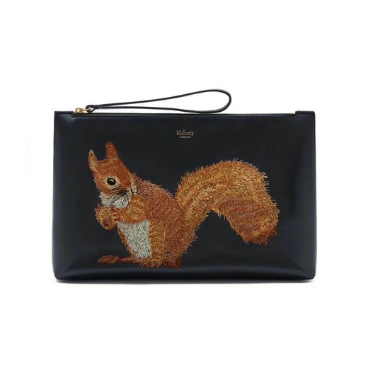 2017 Latest Mulberry Squirrel Large Pouch Midnight Smooth Calf