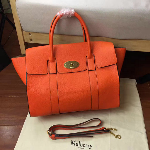 2017 Spring Mulberry Bayswater with Strap Bright Orange Grain Leather