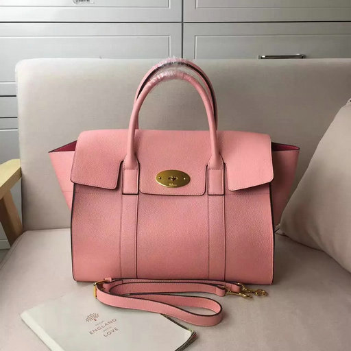 2017 Spring Mulberry Bayswater with Strap Macaroon Pink Grain Leather