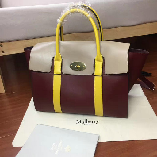 2017 Summer Mulberry Bayswater with Strap Oxblood, Dune & Sunflower Smooth Calf