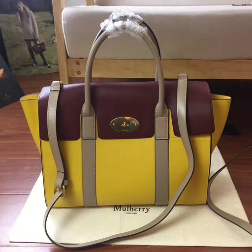 2017 Summer Mulberry Bayswater with Strap Sunflower,Oxblood & Dune Smooth Calf