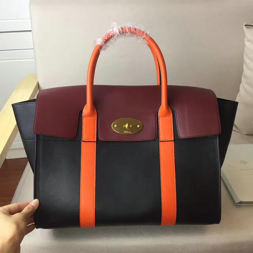 2017 Summer Mulberry Bayswater with Strap Black,Burgundy & Orange Smooth Calf