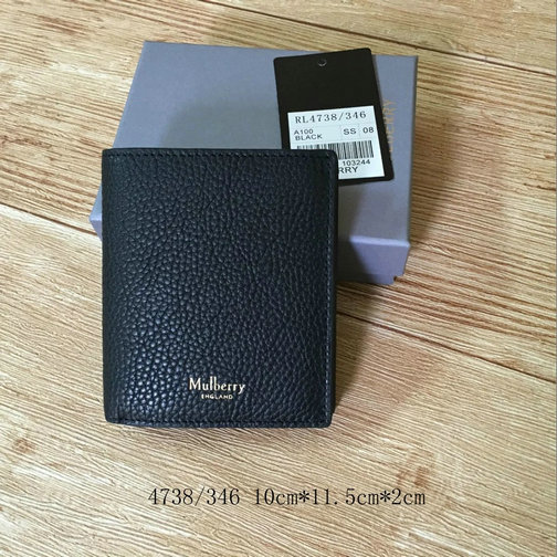 2017 Mens Mulberry Trifold Wallet Black Natural Grain Leather