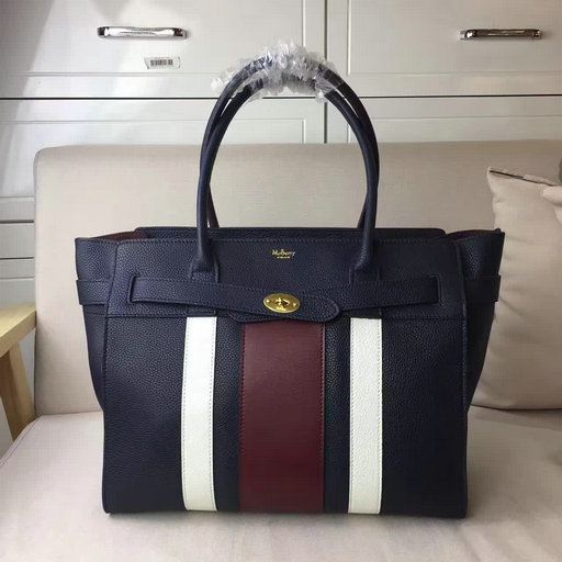 2017 Summer Mulberry Zipped Bayswater Midnight,White & Burgundy Small Classic Grain