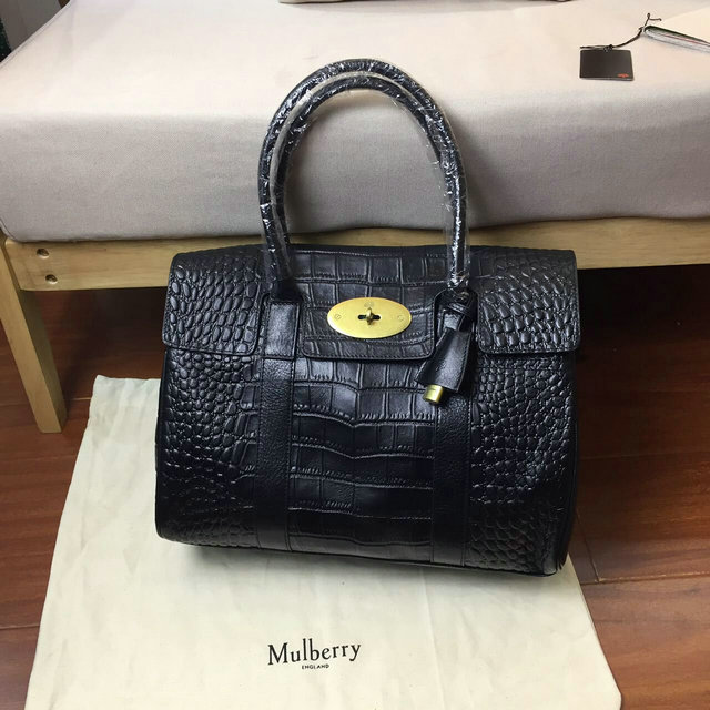 2016 S/S Mulberry Bayswater Tote Black Croc Print