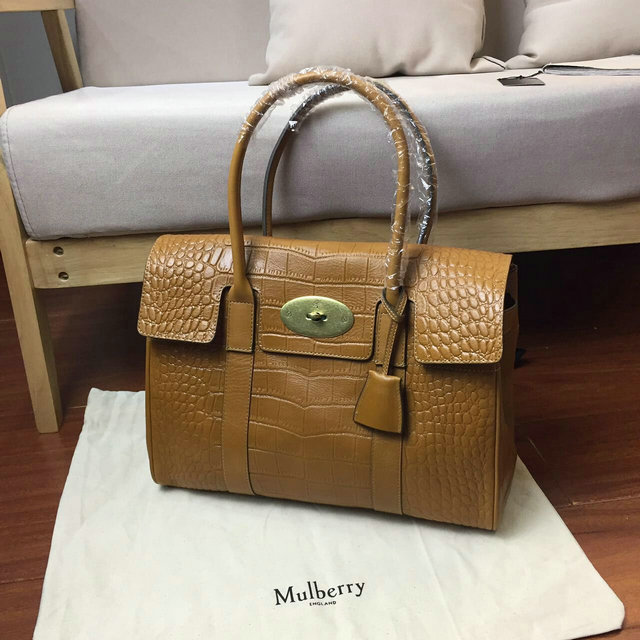 2016 S/S Mulberry Bayswater Tote Oak Croc Print