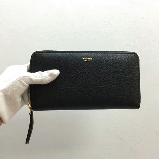 2017 New Mulberry Zip Around Wallet in Black Small Classic Grain Leather