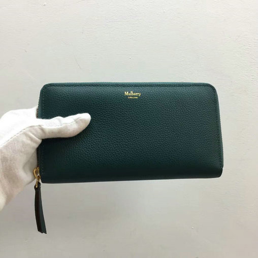 2017 New Mulberry Zip Around Wallet in Ocean Green Small Classic Grain Leather