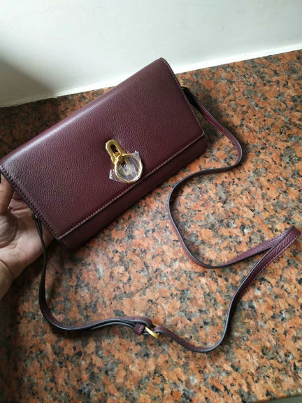 2018 Mulberry Amberley Clutch Oxblood Grain Leather