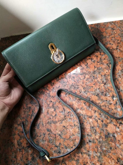 2018 Mulberry Amberley Clutch Dark Green Grain Leather