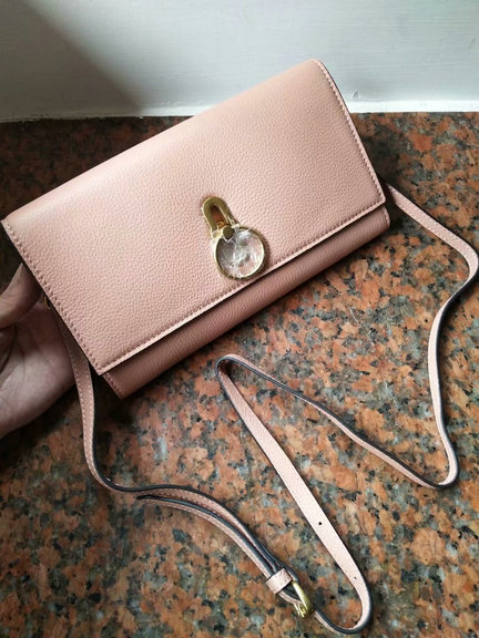 2018 Mulberry Amberley Clutch Nude Pink Grain Leather