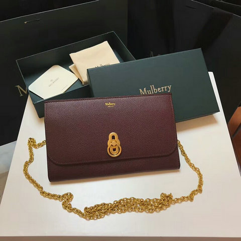 2018 Mulberry Amberley Clutch Oxblood Cross Grain Leather
