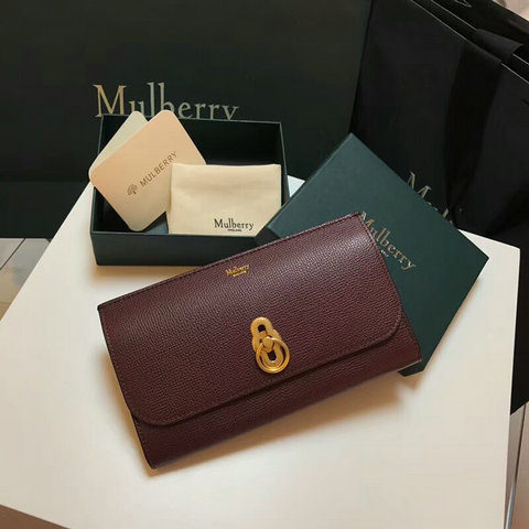 2018 Mulberry Amberley Long Wallet Oxblood Cross Grain Leather