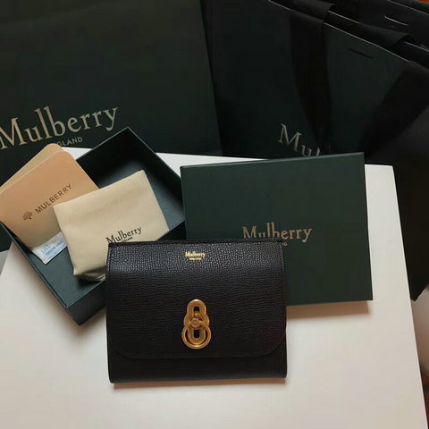 2018 Mulberry Amberley Medium Wallet Black Cross Grain Leather