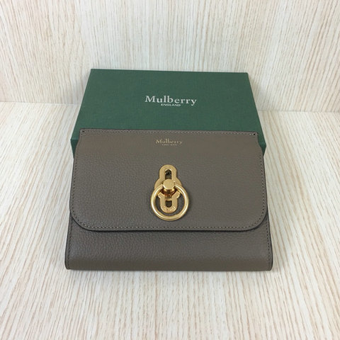 2018 Mulberry Amberley Medium Wallet Grey Grain Leather