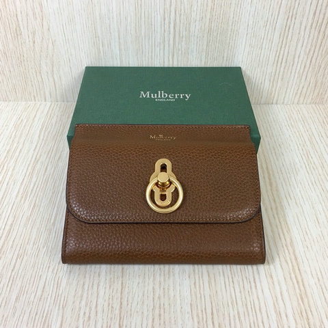 2018 Mulberry Amberley Medium Wallet Oak Grain Leather