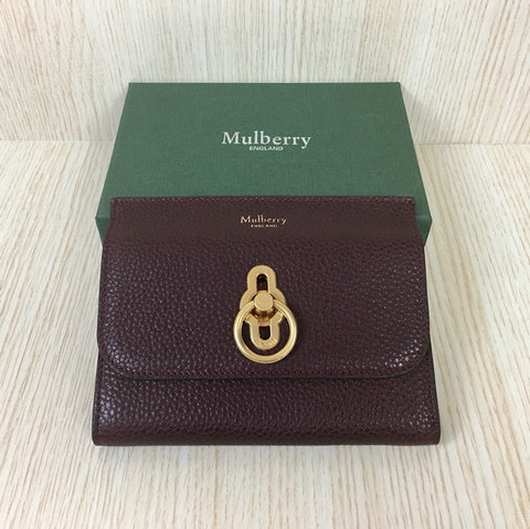 2018 Mulberry Amberley Medium Wallet Oxblood Grain Leather