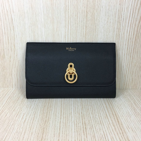 2018 Mulberry Amberley Long Wallet Black Grain Leather