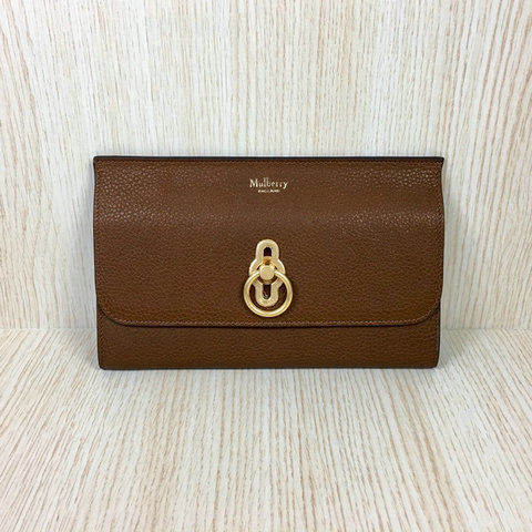2018 Mulberry Amberley Long Wallet Oak Grain Leather