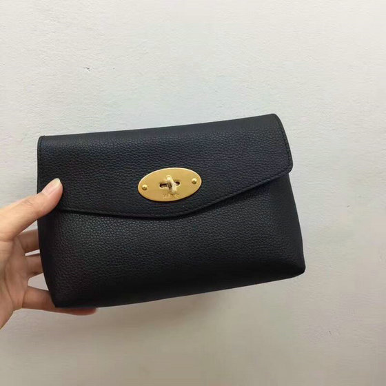2018 New Mulberry Darley Cosmetic Pouch Black Small Classic Grain