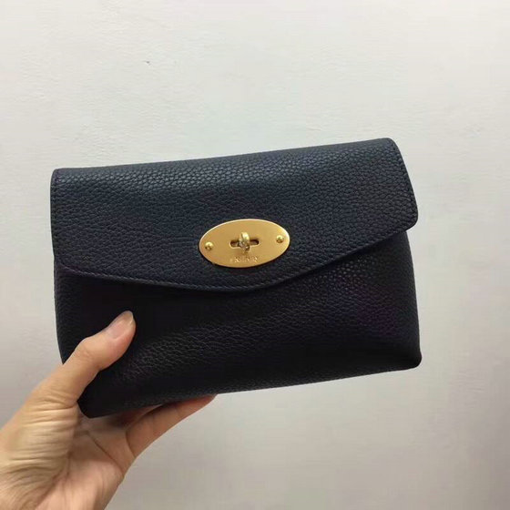 2018 New Mulberry Darley Cosmetic Pouch Dark Blue Small Classic Grain