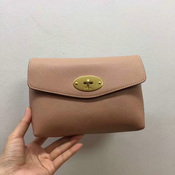 2018 New Mulberry Darley Cosmetic Pouch Dark Blush Small Classic Grain