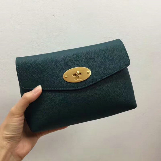 2018 New Mulberry Darley Cosmetic Pouch Green Small Classic Grain