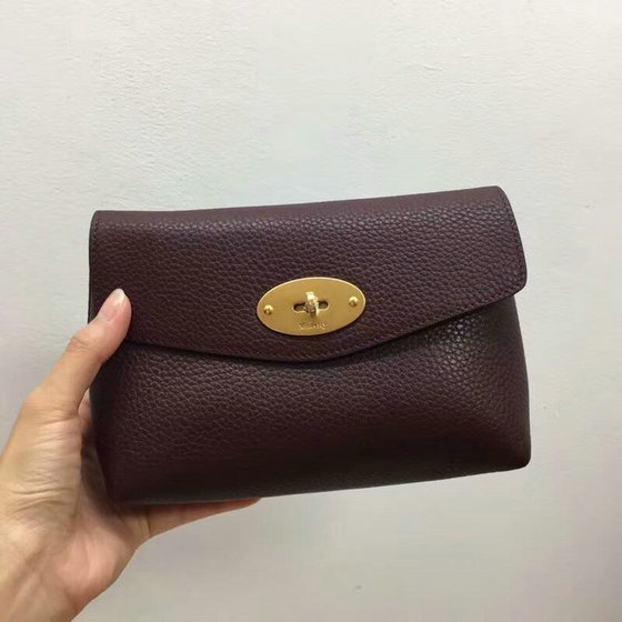 2018 New Mulberry Darley Cosmetic Pouch Oxblood Small Classic Grain