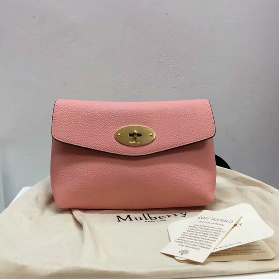 2018 New Mulberry Darley Cosmetic Pouch Pink Small Classic Grain