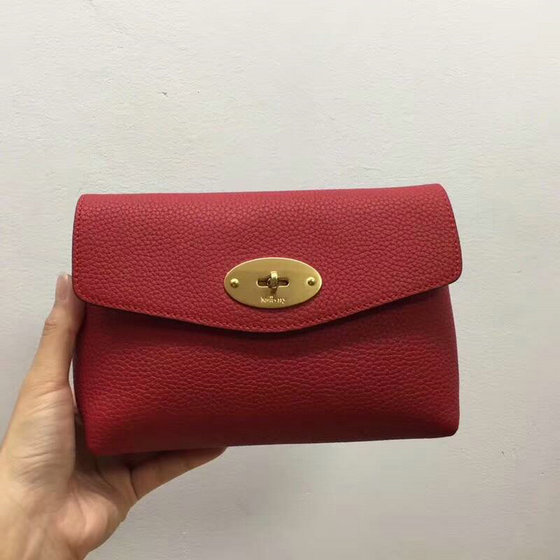 2018 New Mulberry Darley Cosmetic Pouch Red Small Classic Grain