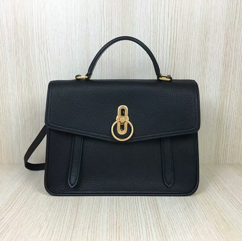 2018 Mulberry Gracy Satchel Black Grain Calf Leather