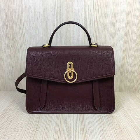 2018 Mulberry Gracy Satchel Burgundy Grain Calf Leather
