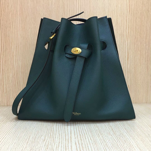 2017 Mulberry Tyndale Bucket Bag Green Small Classic Grain