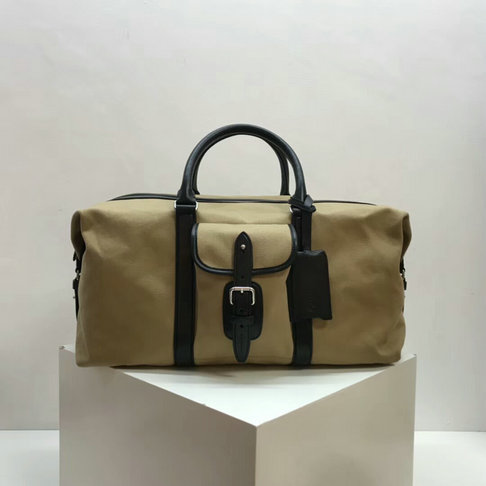 2018 Mulberry Heritage Weekender Natural & Black Canvas with Smooth Calf Leather