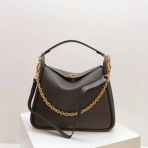 2018 Mulberry Leighton Bag in Dark Clay Silky Calf Leather