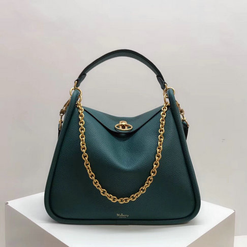 2018 Mulberry Leighton Bag in Green Small Classic Grain Leather