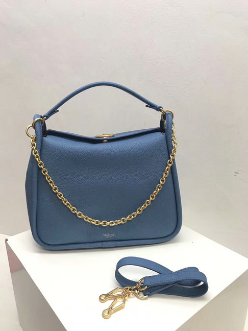 2018 Mulberry Leighton Bag in Lavender Blue Small Classic Grain Leather