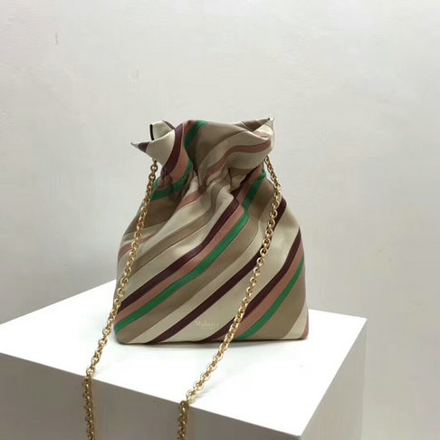 2018 Mulberry Lynton Mini Bucket Bag in Chalk Diagonal Stripe Smooth Calf Leather