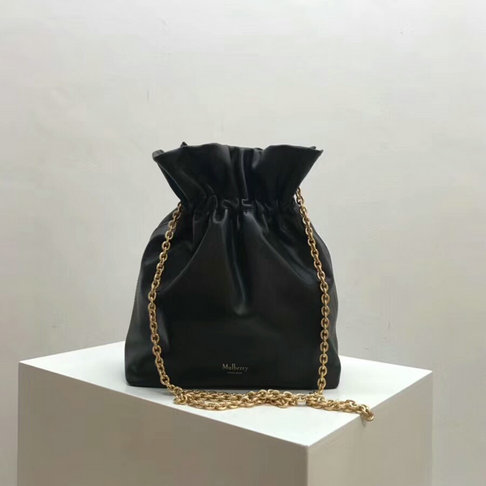 2018 Mulberry Lynton Mini Bucket Bag in Black Leather