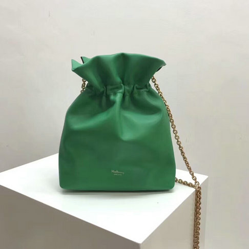2018 Mulberry Lynton Mini Bucket Bag in Green Leather