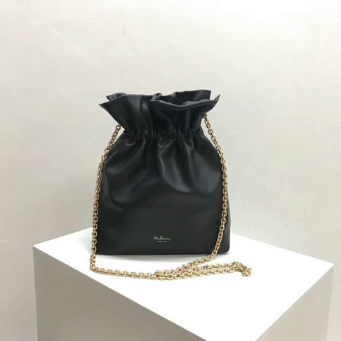 2018 Mulberry Lynton Mini Bucket Bag in Charcoal Grey Leather