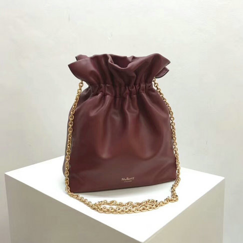 2018 Mulberry Lynton Mini Bucket Bag in Antique Ruby Leather