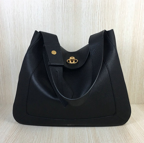 2018 Mulberry Marloes Hobo Bag in Black Grain Leather
