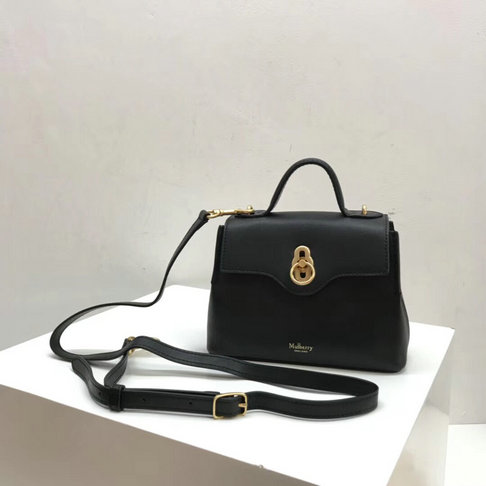 2018 New Mulberry Mini Seaton Bag Black Calf Leather
