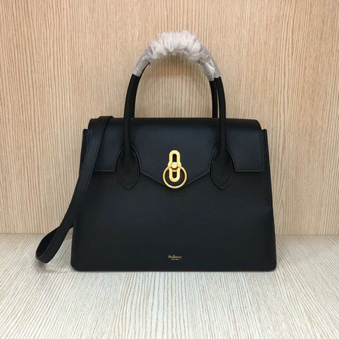 2018 New Mulberry Seaton Bag Black Small Classic Grain Leather