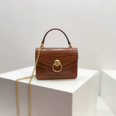 2018 Mulberry Small Harlow Bag Tobacco Brown Croc Print