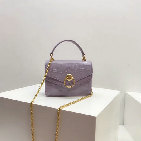 2018 Mulberry Small Harlow Bag Purple Heather Croc Print